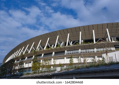 TOKYO, JAPAN - February 8, 2020 : View of the New National Stadium in Tokyo, Japan. The stadium is to be used as the main stadium for the 2020 Summer Olympics as well as opening and closing ceremonies