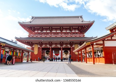 Tokyo, Japan - Febuary,04 2019 : View of Sensoji Temple with crowd of visitors or travelers take in Asakusa temple, locate of kaminarimon of sensoji area, most famous temples in Tokyo, Japan