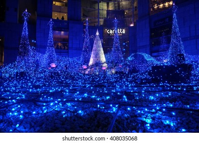 Tokyo, Japan - JAN 08, 2016: Winter Illumination in Shiodome, Tokyo. Christmas trees decorated with LED lights is the signature of illumination here.