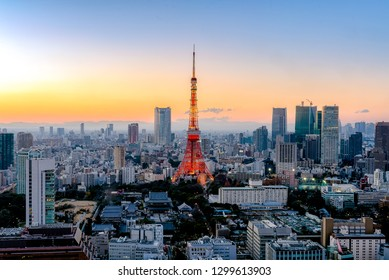 Tokyo, Japan - Jan 10, 2016: Tokyo city view with Tokyo Tower visible on the horizon at sunset time. Tokyo is both the capital and largest city of Japan.