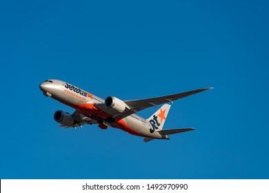 TOKYO, JAPAN - JAN. 13, 2019: Jetstar Airways Boeing 787-8 Dreamliner taking off from the Narita International Airport in Tokyo, Japan.