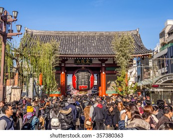 TOKYO, JAPAN - JAN 3: Crowd of Hatsumode at Asakusa in Tokyo, Japan on January 3, 2016. Hatsumode is the first Shinto shrine or Buddhist temple visit of the Japanese New Year.