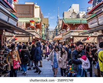 TOKYO, JAPAN - JAN 3: Crowd of Hatsumode at Senso-ji Temple in Tokyo, Japan on January 3, 2016. Hatsumode is the first Shinto shrine or Buddhist temple visit of the Japanese New Year.
