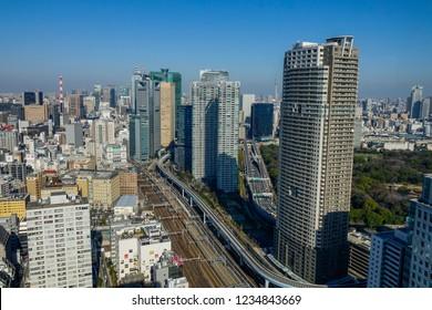 Tokyo, Japan - Jan 4, 2016. Aerial view of Shinjuku District in Tokyo, Japan. Tokyo has the largest metropolitan economy in the world.