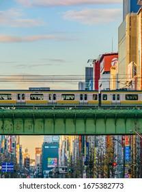 TOKYO, JAPAN, JANAURY - 2019 - Urban scene at famous akihabara neighborhood in tokyo city, japan