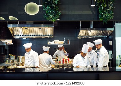 Tokyo, Japan - January 09, 2018: japanese chefs are cooking in the restaurant the most popular delicious japanese snack food in Japan.