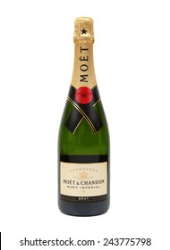 TOKYO, JAPAN - JANUARY 12, 2015: Photo of a bottle of Moet & Chandon Champagne on a white background. Moet & Chandon is one of the world's largest champagne producers and a prominent champagne house.