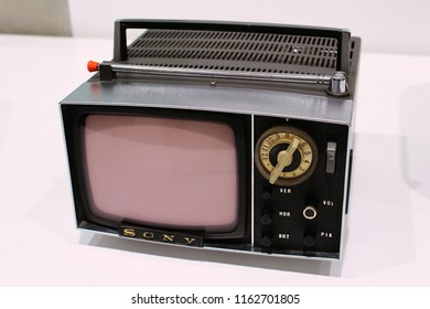 TOKYO, JAPAN - January 12, 2017: A Sony early 1960s 5-303W black and white micro TV set. It was on display at the 'It's a Sony' exhibition in the now demolished Sony Building in Ginza.