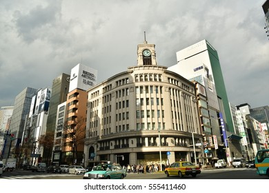 TOKYO, JAPAN - January 13 , 2017 : Cityscape at Tokyo Ginza District. Ginza is recognized by many as one of the most luxurious shopping districts in the world.
