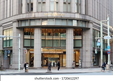 TOKYO, JAPAN - January 15, 2020: The front of Mitsukoshi department store in Nihombashi.