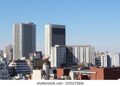 TOKYO, JAPAN - January 19, 2019: Overhead view of Asakusa includingthe Asakusa View Hotel and the  Richmond Hotel.