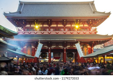Tokyo, Tokyo / Japan - January 1st 2016: Senso-Ji Temple In Asakusa Busy During New Years Festival With Many People