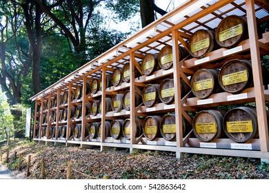 TOKYO, JAPAN - January 2, 2016: Wooden Barrels Wine at the entrance of Meiji Jingu Shrine, Harajuku