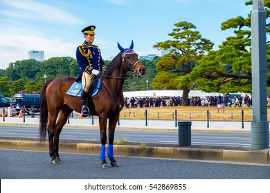 TOKYO, JAPAN - January 2, 2016: Police officers on horseback to secure the crowd's attended the Emperor's greeting for the New Year at the Imperial Palace.
