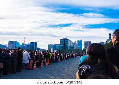 TOKYO, JAPAN - January 2, 2016: Crowds Japanese people attended the Emperor's greeting for the New Year at the Imperial Palace in January 2nd of every year.