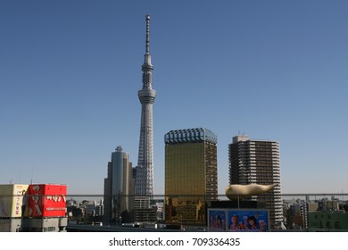 Tokyo, Japan -  January 22, 2016 : The skyline of buildings and the Tokyo Skytree