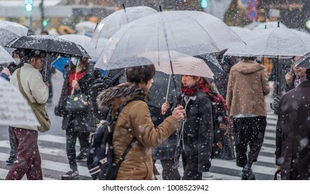 TOKYO, JAPAN - JANUARY 22ND, 2018. Crowd of people walking in Shibuya during a rare snow storm in Tokyo.