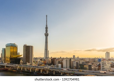 TOKYO, JAPAN - JANUARY 25TH, 2019.Tokyo Skytree at sunrise.The Tokyo Skytree is a television broadcasting tower with a large shopping complex and aquarium.It is a famous landmark in Tokyo city, Japan