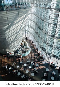 TOKYO, JAPAN - JANUARY 3 2018: Interior of the modern design of National Art Museum in Minato District, Roppongi, Tokyo on a sunny day. The architect of the museum was Kisho Kurokawa.