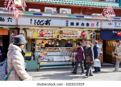 Tokyo, JAPAN - January 30, 2018: A Nakamise road in front of Sensoji Temple or Asakusa Temple or Asakusa Temple Kannon have a food market or souvenir shop