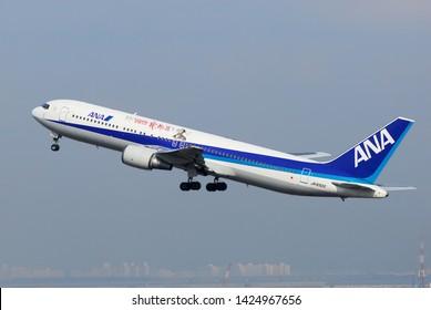 "Tokyo, Japan - January 31, 2010:All Nippon Airways (ANA) Boeing B767-300 (JA8322) passenger plane. ""NHK Ryomaden"" livery."
