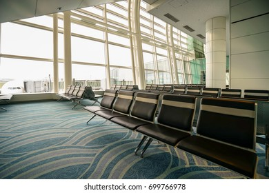 TOKYO, JAPAN - JUL,24,2017: The empty departure hall of Terminal 2, Haneda International Airport. Haneda is one of the two primary airports serving the Greater Tokyo Area, Japan.