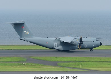 Tokyo, Japan - July 02, 2019:Turkish Air Force Airbus A400M Atlas transport aircraft.