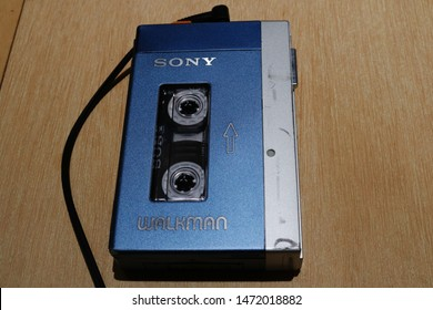 TOKYO, JAPAN - July 12, 2019: The first Walkman model, the TPS-L2, on display at the Walkman in the Park' exhibition at Ginza Sony Park, held to commemorate the Walkman's 40th anniversary.