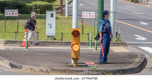 TOKYO, JAPAN - JULY 15TH, 2017. Japanese police at Asukayama neighborhood.