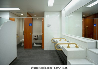 TOKYO, JAPAN - JULY 16, 2017:The scene of TOKYO subway station's public toilet interior.