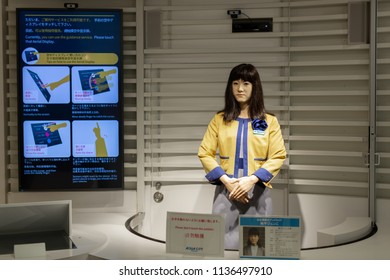 Tokyo, Japan - July 17, 2018: Chihira Junco, a Toshiba trilingual android robot is working as a information desk staff at Odaiba's Aqua City shopping complex