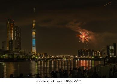 Tokyo, Japan - July 25,2015 : Summer  firework Festival in Tokyo at sumida river Near tokyo sky tree