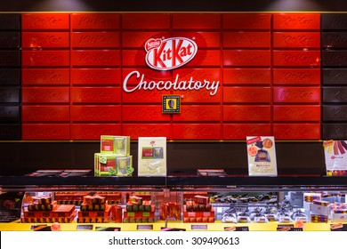 TOKYO, JAPAN - JULY 29, 2015: The Kit Kat Chocolatory in the Daimaru Department Store. The shop offers unusual flavors virtually unknown outside Japan.