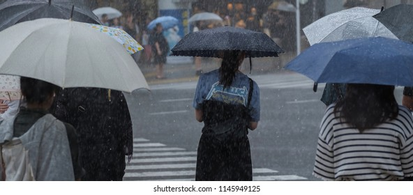 TOKYO, JAPAN - JULY 29TH, 2018. Japanese girl with umbrella during the rainy typhoon season in Shibuya.