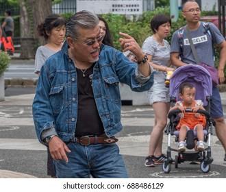 TOKYO, JAPAN - JULY 30TH, 2017. Tokyo subculture rockabilly dancers in Yoyogi park.