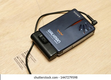 TOKYO, JAPAN - July 5, 2019: A 1999 special edition Walkman, the WM-WE01,  on display at '#009 Walkman in the Park' exhibition at Ginza Sony Park, held to commemorate the Walkman's 40th anniversary.