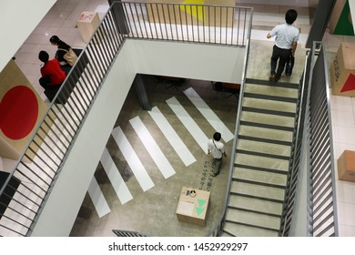 TOKYO, JAPAN - July 5, 2019: View of the subterranean interior of Ginza Sony Park where '#009 Walkman in the Park' exhibition held to commemorate the Walkman's 40th anniversary.