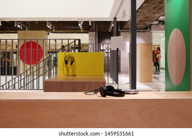 TOKYO, JAPAN - July 5, 2019: The interior of Ginza Sony Park where portable music players are displayed at the '#009 Walkman in the Park' exhibition held to commemorate the Walkmam's 40th birthday.