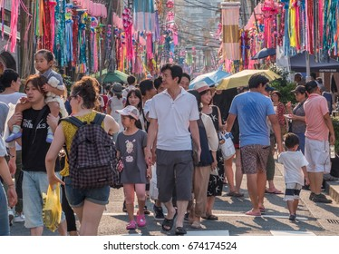 TOKYO, JAPAN - JULY 9TH, 2017. Crowd of people and visitors at the Kappabashi Shitamachi Tanabata annual street summer festival.