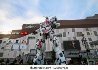 TOKYO, JAPAN - JUN 21,2018 : Full-size Mobile suit RX-0 Unicorn Gundam replica from the Mobile Suit Gundam Unicorn series at Diver City Tokyo Plaza in Odaiba, TOKYO, JAPAN