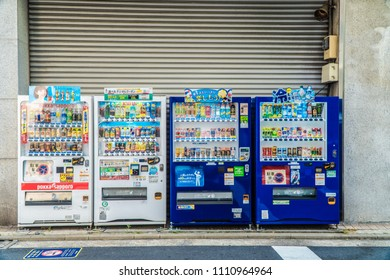 TOKYO, JAPAN -JUNE 01,2018: Automatic soft drinks dispenser loctaed in dowtown in the city of Tokyo