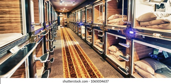 TOKYO, JAPAN - JUNE 1, 2016: Interior view of capsule hotel in city center. Capsule Hotels are less expensive structures very famous in Tokyo.