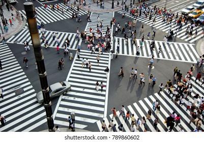 Tokyo, Japan - June 10, 2014: Tokyo Crosswalk. Street crossing in Ginza district.