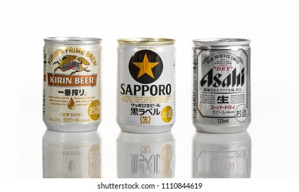 TOKYO, JAPAN - JUNE 12, 2018: Three cans of Japanese beers. Sapporo, Asahi and Kirin Ichiban are three of the most popular Japanese beers in Japan