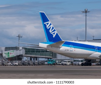 TOKYO, JAPAN - JUNE 12TH, 2018. Air Nippon Airways or ANA plane at Haneda International Airport.