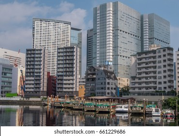TOKYO, JAPAN - JUNE 15TH 2017. Boats anchored at Shinagawa ward canal. These boats and canals are off the beaten path from the usual popular tourist attraction in Tokyo.