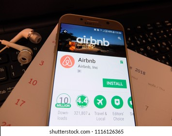 Tokyo, Japan. June 18, 2018: airbnb application on smartphone screen. airbnb app is for people to rent short-term lodging.
