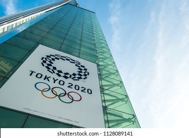 TOKYO / JAPAN - JUNE 19, 2018 /Tokyo 2020 licensing office. Symbols of the Olympics and Paralympics on the facade of the building.
