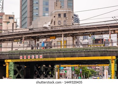 Tokyo, Japan - June 2, 2019: Street view of a train and subway station in the Kagurazaka neighborhood.