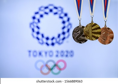 TOKYO, JAPAN, JUNE. 20. 2019: Summer olympic Game, Tokyo 2020, logo of the games and medal – gold, silver and bronze
